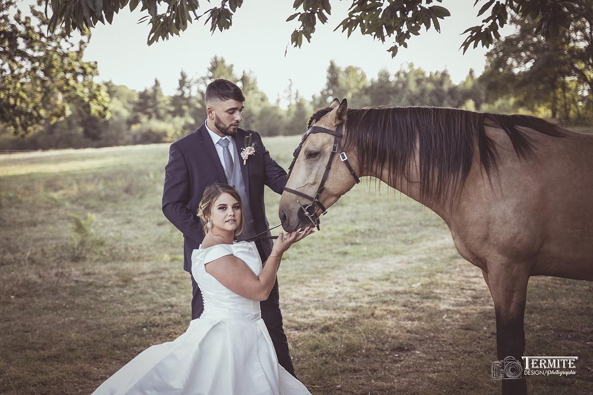 Photo couple avec cheval